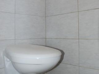 WC suspendu dans un coin avec murs carrelés