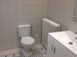 Coin WC avec ambiance carreaux de ciment bleu et gris anthracite