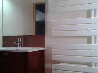 Meuble vasque acajou et sèche serviette pour une salle d'eau parentale bien équipée