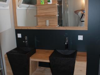 Une salle de bain noire moderne avec installation de double vasque