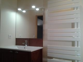 Pose d'un miroir et de lumière au dessus du meuble vasque