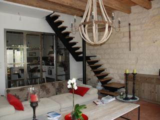 Pose de l'escalier métal et bois